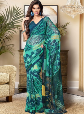 Beautiful Designer Printed Saree Prafful.com